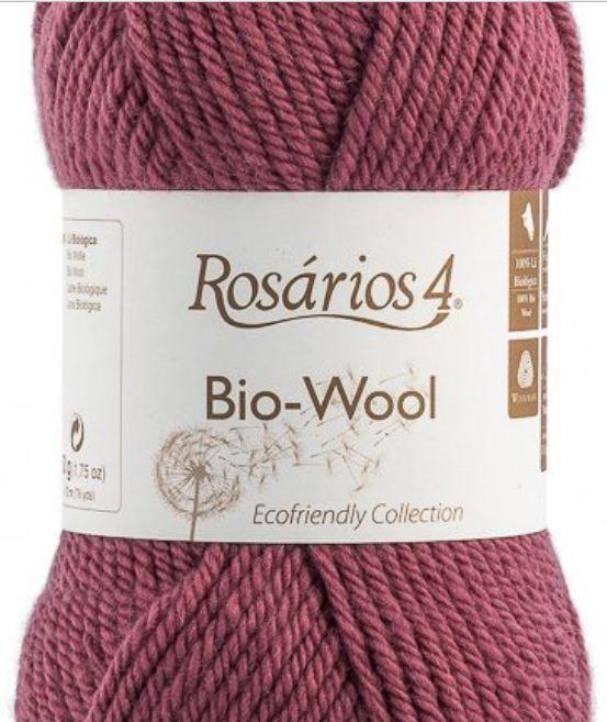 100% organic wool Bio-Wool 13 světlá vínová ROSARIOS4
