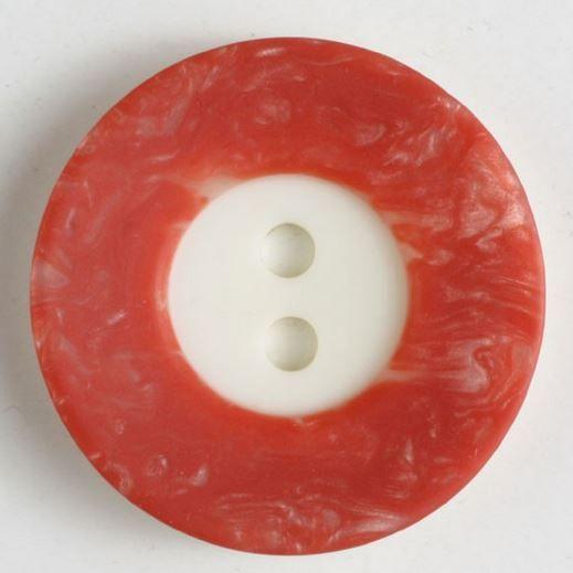Dámský polyesterový knoflík bíločervený 18 mm DILL