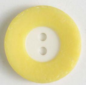 Polyesterový knoflík bíložlutý 18 mm
