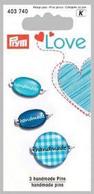 Štítek Handmade PRYM LOVE modrá 3 ks