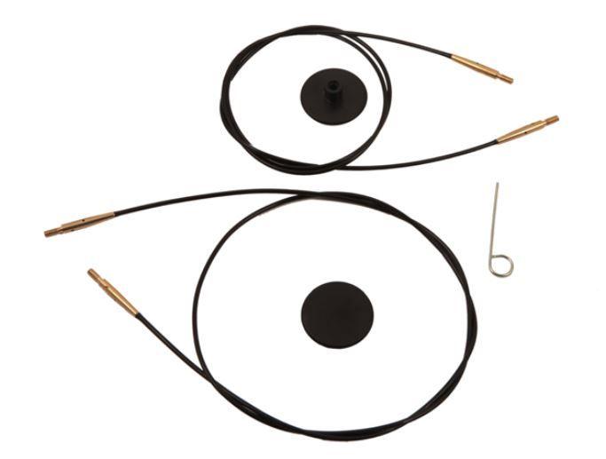 Náhradní lanko 150 cm černá/zlatá KnitPro