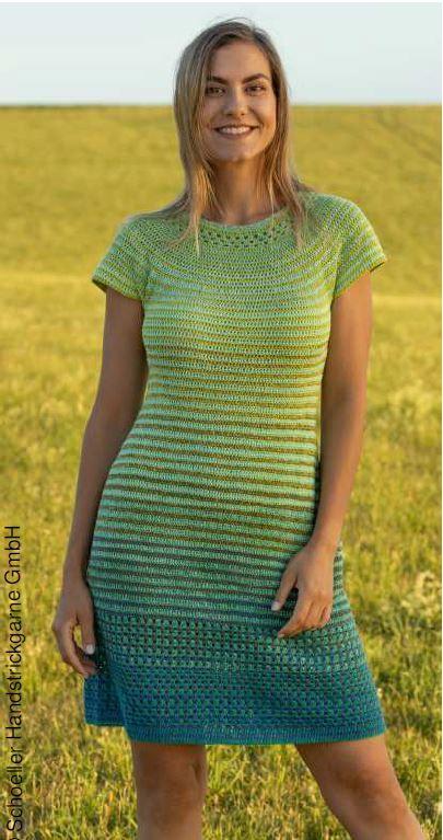 Háčkované šaty z příze Fantasy Colours Austermann